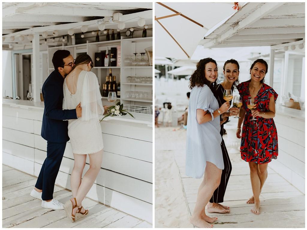 photos mariage cocktail mariés bisou et invités