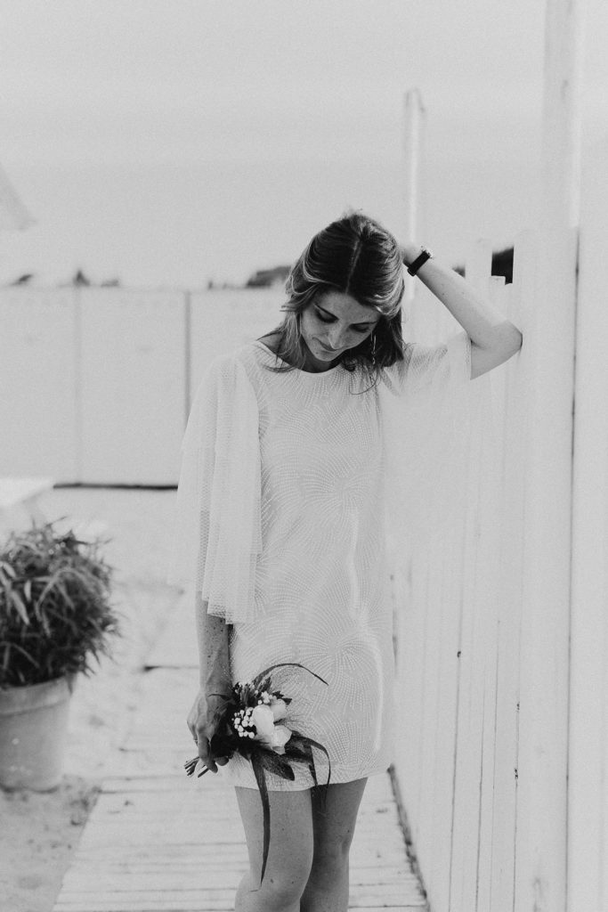 Portrait mariée noir et blanc les Bains du Nau
