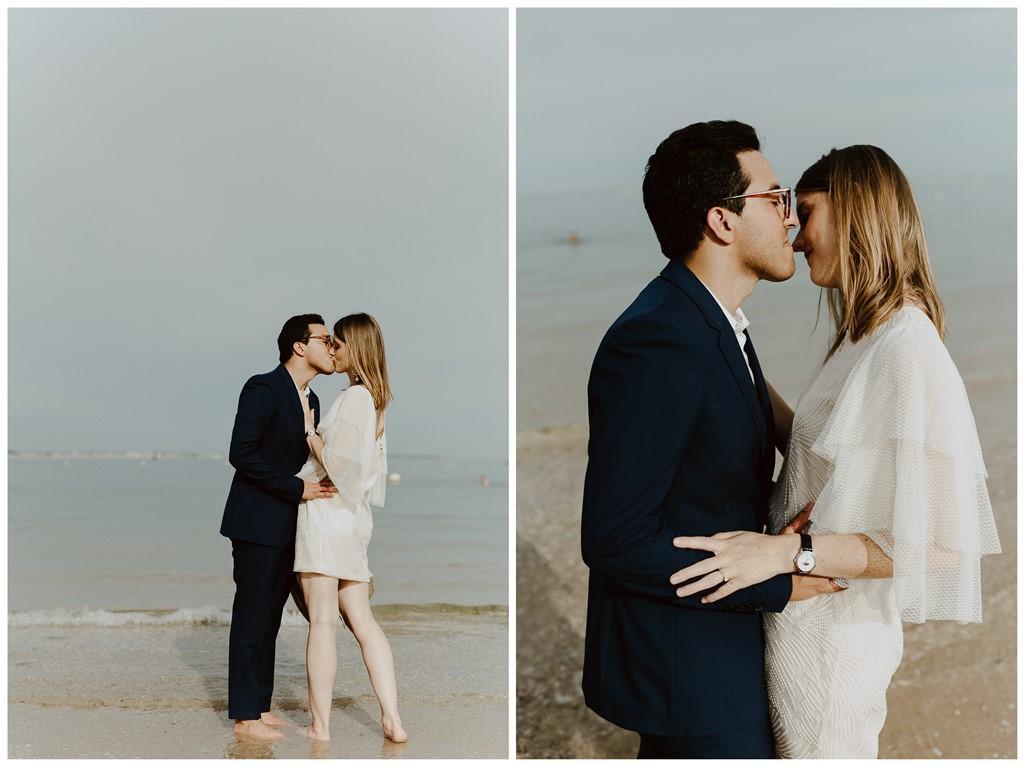 mariés à la mer bisou pieds dans l'eau Loire-Atlantique
