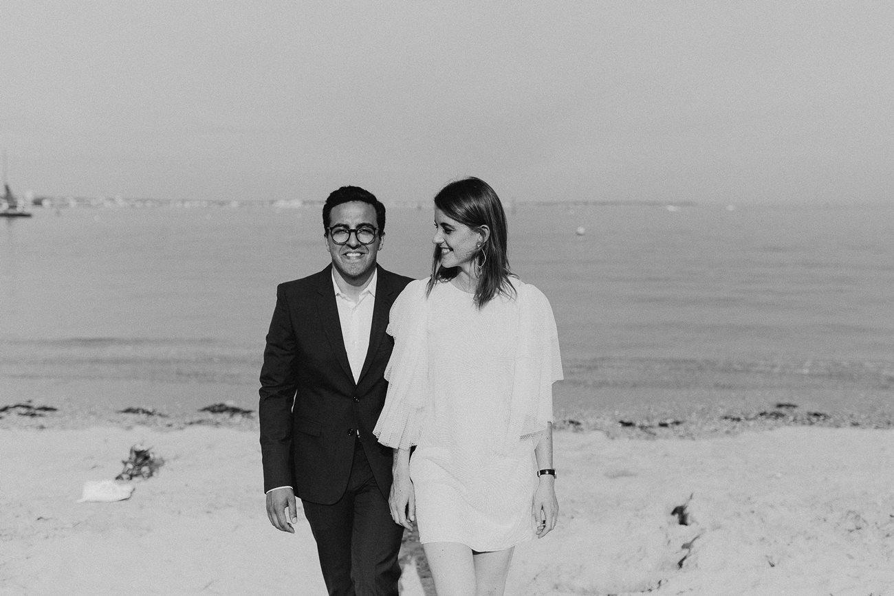 photo marié plage noir et blanc La Baule