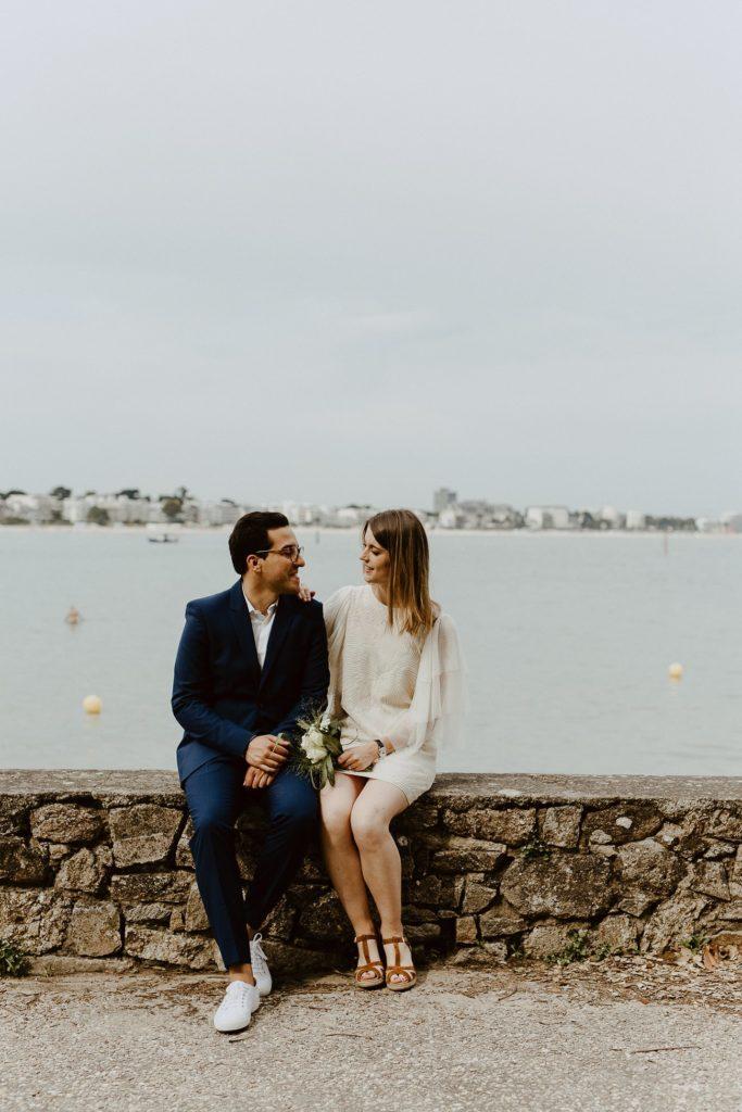 couple mariage face à la mer Loire-Atlantique