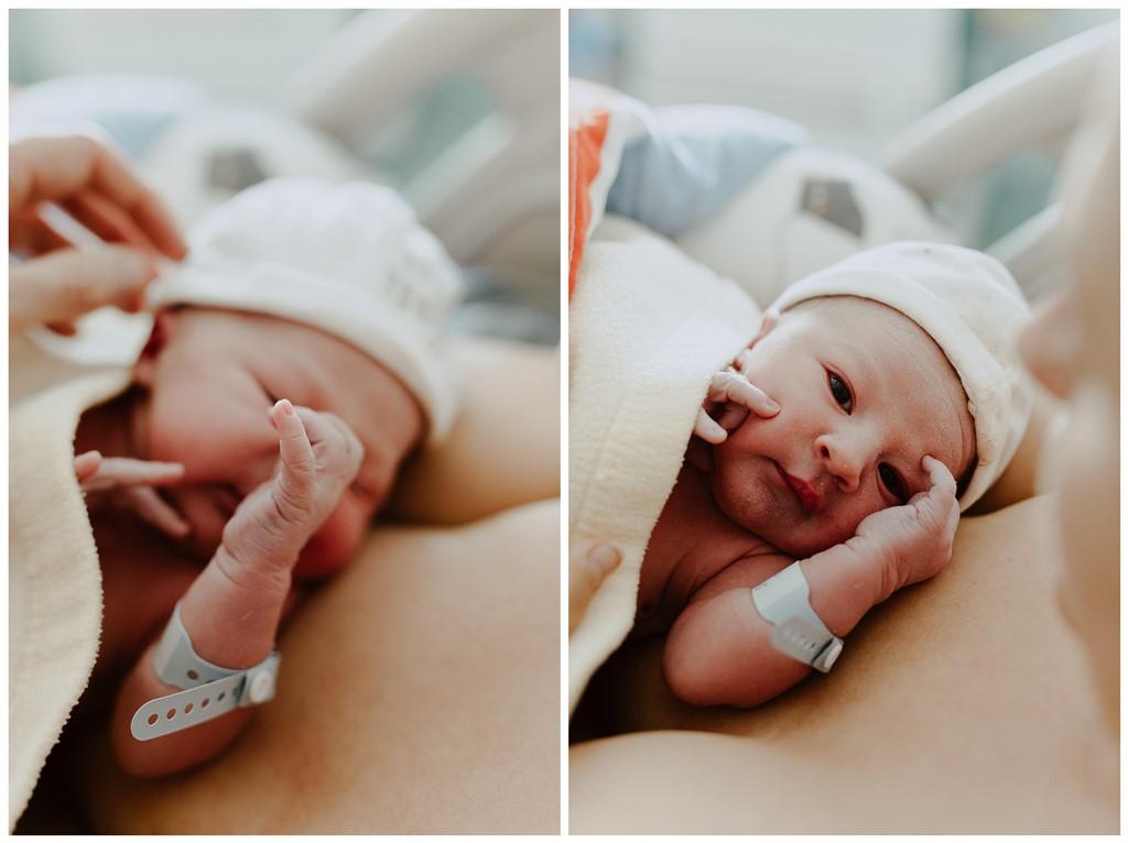Reportage photo accouchement portrait nouveau-né détails main