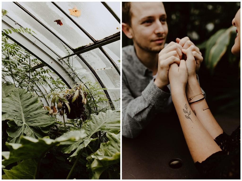 séance couple ambiance botanique plantes serre jardin des plantes tatouage plante future mariée