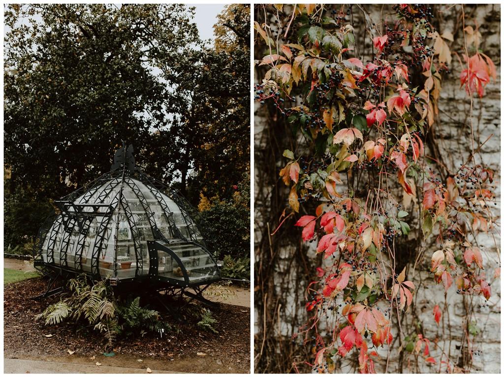 séance couple ambiance botanique jardin des plantes Nantes mini serre et plantes