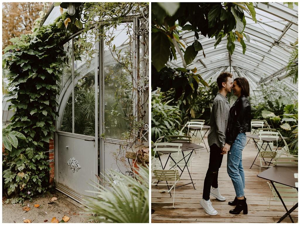 séance couple ambiance botanique amoureux rires serre végétale