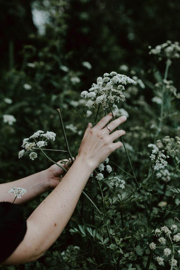 détails mains fleurs