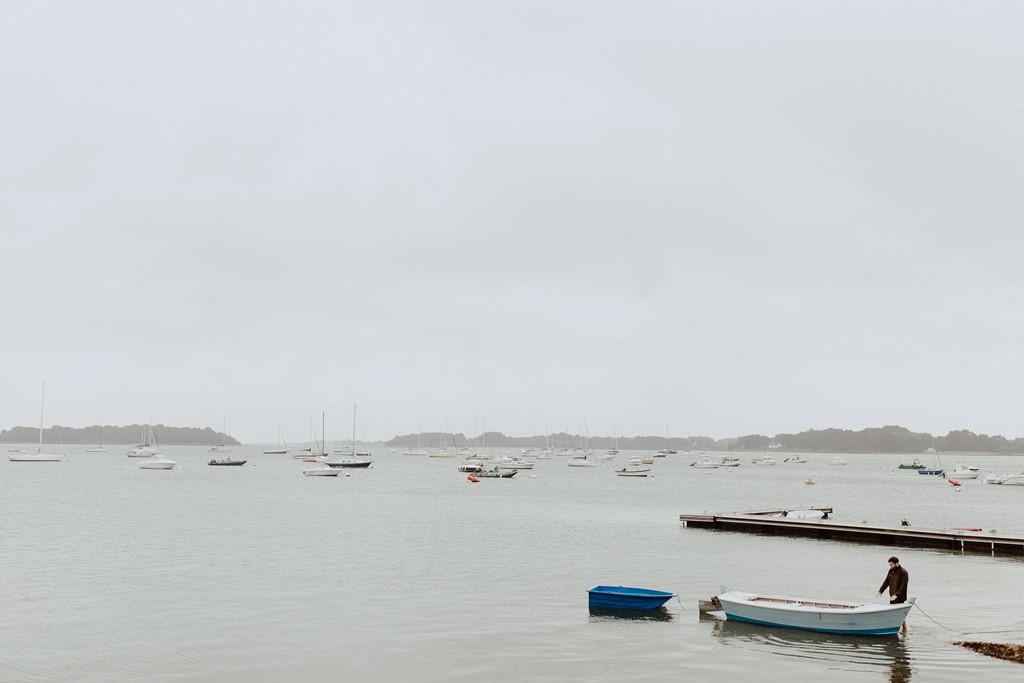 photo mer bateaux pêcheur ciel gris