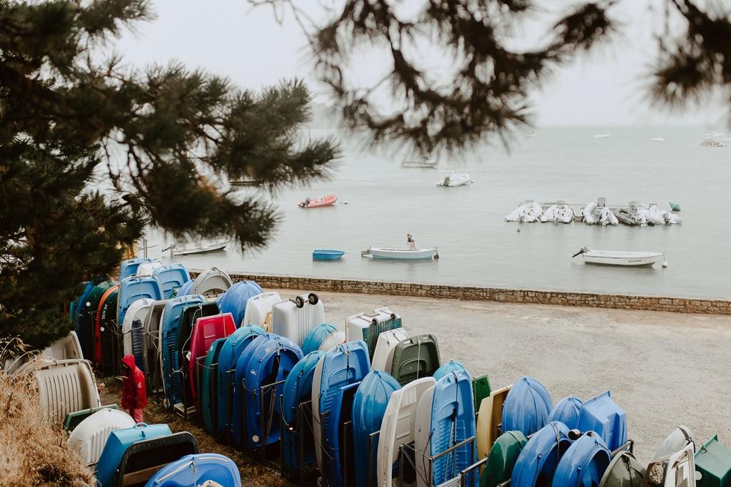 photo port du logeo Sarzeau ciel gris pluie