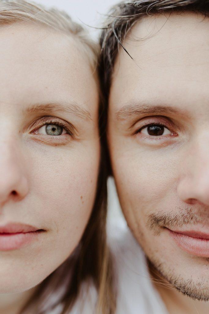 portrait visages couple yeux nez bouches
