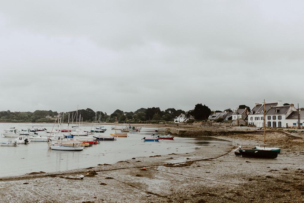 photo paysage port du Logeo Sarzeau plage ciel gris pluie